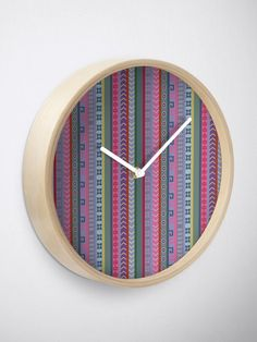 """Ethnic Peruvian Striped Pattern"" Clock by oknoki 