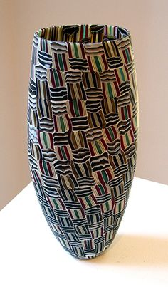 Fused, blown, and wheel cut murrini glass. Giles Bettison