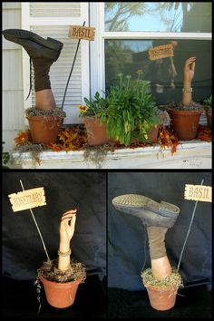 DIY Herb Garden with Basil and Rosemary from Dave Lowe Design He used mannequin parts and gardening pots to make these. That also looks like Spanish moss in the pots. Halloween Porch Decorations, Theme Halloween, Halloween Signs, Outdoor Halloween, Halloween House, Holidays Halloween, Spooky Halloween, Halloween Crafts, Halloween Cosplay