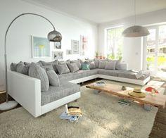 Wohnlandschaft Clovis XL Weiss Hellgrau Modulsofa Hocker  Bild 1