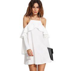 White Ruffle Trim Cold Shoulder O Neck Loose Mini Dress