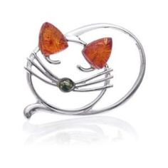 Sterling Silver Amber Sleeping Cat Pin