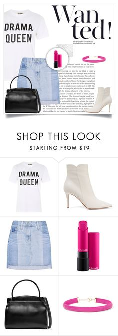 """""""60s second outfit with ankle boots 💗💖"""" by andriana-aaa ❤ liked on Polyvore featuring Love, Gianvito Rossi, AG Adriano Goldschmied, MAC Cosmetics, Jil Sander and Kenneth Jay Lane"""