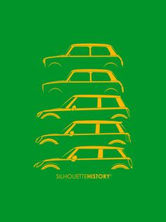Tiny Brit SilhouetteHistory St. Patrick's Day Special Edition Silhouettes of the Mini generations: 1960 Morris Mini, 1969 Mini Clubman, and 2002, 2006, 2015 new Mini Coopers.