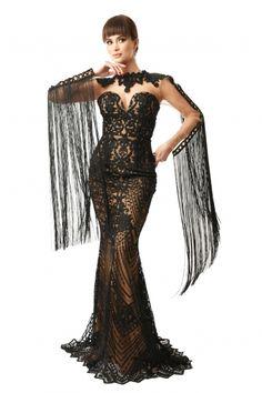 Rochie lunga de seara Lille Couture din dantela brodata Aretha, neagra Couture, Roxy, Formal, Dresses, Fashion, Preppy, Vestidos, Moda, Fashion Styles