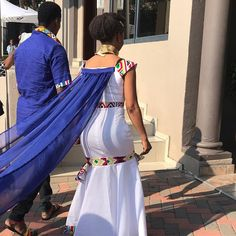 """M A S H • M O K G A T L E on Instagram: """"Stepping into their future! Congra my sweetest @tumymokoena and @bhekiblue on a great milestone. Halala!! 💙💛"""" Kenyan Wedding, African Wedding Attire, African Attire, African Fashion Dresses, African Traditional Wedding Dress, Princess Wedding Dresses, Wedding Gowns, Groomsmen Outfits, Style Africain"""