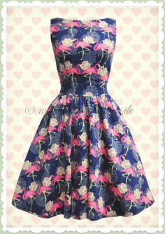 Lady Vintage 40er Jahre Vintage Retro Kleid - Flamingo - Navy Blau Pink