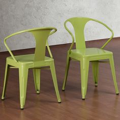 Could be for long table at window, maybe prefer cushioned seats? $199/set of 4 need table to go with? Limeade Tabouret Stacking Chairs (Set of 4)