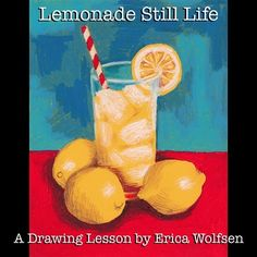 In this lesson students will learn how to draw a glass of lemonade on a table. Lessons are step by step and designed for success regardless of the student's level. This drawing takes approximately 45 minutes to complete in full. The sample is made in oil pastel on yellow card-stock, but feel free to use other media if you prefer, such as paint, color pencil, or marker.