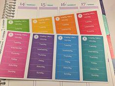 Weekly Menu Planner Stickers, Rainbow Sticker, meal plan, icon, sunday, monday, sidebar, list, vertical Life Planner, eclp, ec, functional, Header, Erin Condren, Plum Paper, MAMBI, planner accessory, https://www.etsy.com/au/listing/484189035/weekly-menu-planner-stickers-rainbow?ref=shop_home_active_23