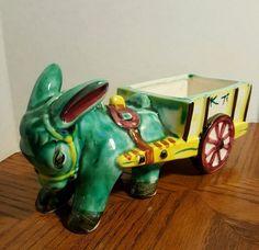 Colorful Vintage Planter Donkey 1940's or 50's Burro Pulling Cart | eBay