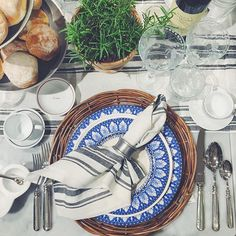 A beautiful place setting with our Heirloom Dinnerware in Royal Acanthus. Photo by @waitingonmartha