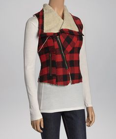 Take a look at this Purple Clover Red Plaid Vest on zulily today!