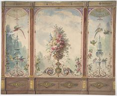 Design for a Wall with a Flower Vase, Birds, Two Gold Fish and Globe Fountains Anonymous, British, century - Watercolor and Ink - Drawings Chinoiserie, Vintage Wall Art, Vintage Walls, Bathroom Vintage, Motif Arabesque, Vintage Ephemera, Flower Vases, Wall Design, Wall Murals