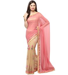 Shop Salmon & Beige Saree with Resham Zari Work.  Based in USA California 1-3 day shipping. Shop online  www.pinkphulkari.com