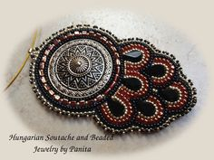 Bead embroidery pendant.