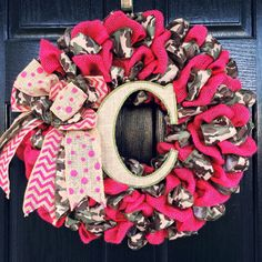 Hot Pink Burlap/Camo Ribbon Wreath with by CMACraftsandDesigns, $60.00