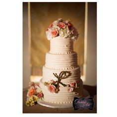Frosted Art Bakery & Studio 4 tiers horizontal homestyle with fresh floral in blush