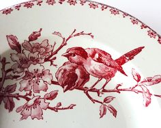 Faience Red Transferware Bowls by Sarreguemines by LaLoupiote