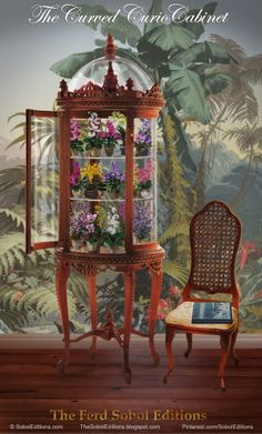 The Curved Curio Cabinet by The Ferd Sobol Editions is a round clear display case to showcase all your miniature treasures. It is the perfect place to feature a collection of mini orchids, much the same way that the Victorians brought exotic samples from nature into their parlors to the delight of their visitors. If you would like to see how Ferd created this 1/12th scale miniature edition: http://thesoboleditions.blogspot.com/2013/03/Curved-Curio-Cabinet-Sobol.html www.SobolEditions.com