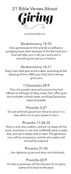 21 Bible Verses About Giving [FREE] – Bibles and Coffee
