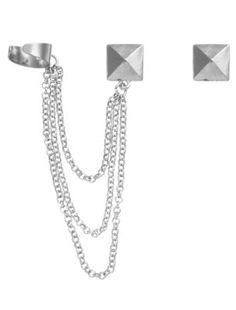 Silver Pyramid Stud Ear Cuff Earrings - Earrings - Womens | New Look