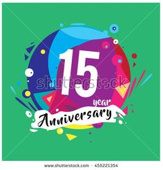 15th years greeting card anniversary with colorful number and frame. logo and icon with circle badge and background