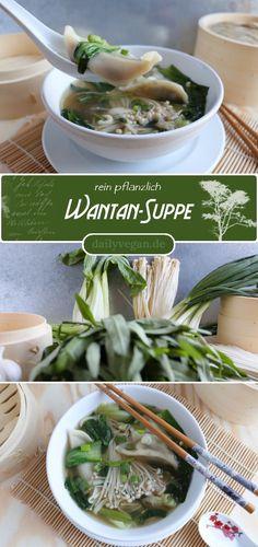 Heute muss es mal schnell gehen, daher verwende ich fertige Wantans (kleine, chinesische Dumplings) für ein leckeres Süppchen. Die Wantans für diese gesunde, frische, gemüsige Wantan-Suppe (oder auch Wan Tan, Wonton oder Won Ton) bekommst Du im Asialaden im Tiefkühlfach, darunter sind auch immer mehrere vegane Sorten. Diese einfache, aber außergewöhnliche Suppe ist innerhalb von 10 Minuten auf dem Teller.  Das Rezept fndet Ihr wie immer auf dailyvegan.de