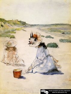 """On the Beach, Shinnecock  William Merritt Chase.  """"William Merritt Chase (November 1, 1849 – October 25, 1916) was an American painter known as an exponent of Impressionism and as a teacher."""""""