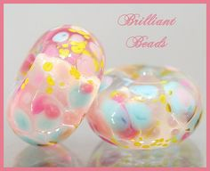 ... GardenPink & Blue Glass Spacer Bead by Gillianbeads on Etsy, $4.25
