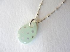 Seaglass Jewelry Silver Polkadot Beachglass Sea glass necklace