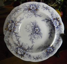 Antique Lavender Purple Transferware Trinket Dish Candy or Berry Bowl Ferns and Flowers with Gilt Accents
