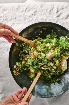 "Bon Appétit's Carla Lalli Music shares the big, dreamy grain salad of her dreams from her popular cookbook, ""Where Cooking Begins. Bon Appetit, Chocolate Dipped Bananas, Braised Greens, Wings In The Oven, Grain Salad, Fresh Mint Leaves, Big Salad, Smitten Kitchen, Kitchens"