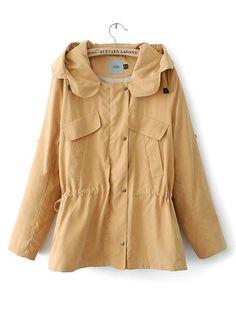 Long Sleeve Collar Hood Drawstring Trench Coat