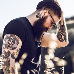 Caleb Steven - full thick dark beard beards bearded man men mens' style tattoos tattooed #beardsforever