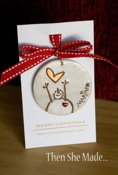 Personalized Reaching Snowman Christmas Ornament by Thenshemade, $8.50