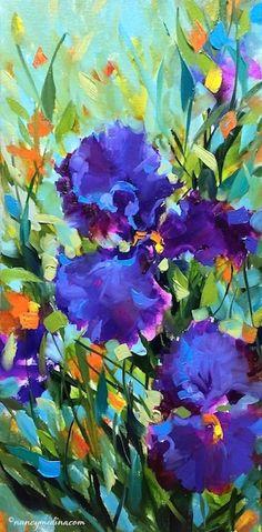 Signs of Spring Iris Garden flower painting, 20X10, oil www.nancymedina.com
