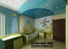 Best creative kids room ceilings design ideas, cool stretch ceiling blue starry sky