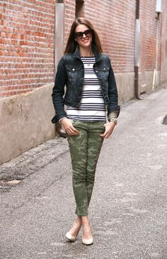 Love everything about this look...stripes, denim jacket, and camo jeans!