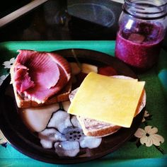 Ham & Cheeeese with a blueberry smoothie. #lunchtime