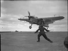A batsman bringing in a Fairey Barracuda of 831 Squadron, Fleet Air Arm on board HMS FURIOUS. Note the radar antenna on the aircrafts wings.