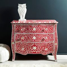 Floral Pink & Mother of Pearl Inlay Chest of Drawers