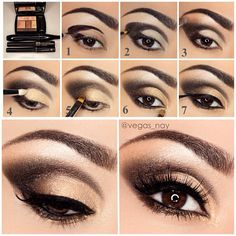 Bronze Amour Palette; 1.) line crease and outer corner with Lancôme ARTLINER in brown 2.) darken the liner with the darkest shadow on palette & apply to lower/bottom lash line as well 3.) blend out w/ medium brown above crease 4.) highlight w/ lightest nude color to brow bone & add gold color on lid 5.) apply medium brown on outer lid 6.) apply bronze/gold to lower lash line 7.) apply ARTLINER in noir to top lash line; apply Lancôme Hypnôse mascara to natural lashes. False lashes by @doseofco...