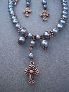 Blue Pearl Copper Cross Necklace with by AllMyLoveofCrafts on Etsy, $10.00