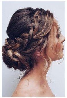 Bridal Hair Updo, Wedding Hair And Makeup, Updos For Wedding, Wedding Updo With Braid, Wedding Dresses, Boho Wedding Hair Updo, Low Bun Wedding Hair, Elegant Wedding Hair, Bridal Makeup