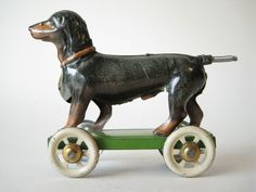 RARE TIN DACHSHUND ANTIQUE PENNY TOY DOG MEIER GERMANY 1920