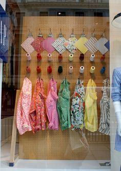 Window display of fabrics and yarns in Gap, London