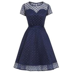Lindy Bop Swing Abbie jurk met polkadot stippen print donker blauw - V