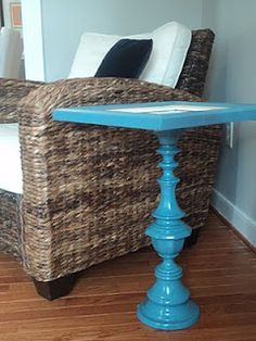 Take an old lamp base and an old picture frame and make a sweet pedestal table!