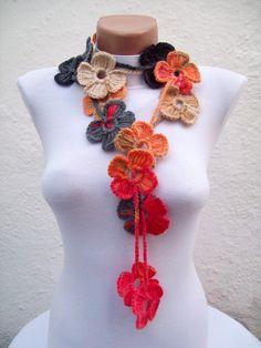 Hand crochet Lariat Scarf  Red Orange Brown Black  Flower by nurlu, $25.00